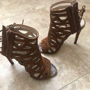 Brown stiletto caged heels